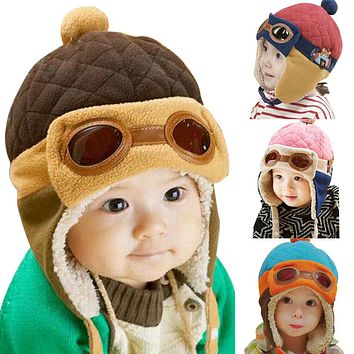 Fashion Baby Winter Autumn Spring Warm Hat Toddlers Cool Caps Boy Girl Pilot Cute Beanie Caps Children Kids Hats