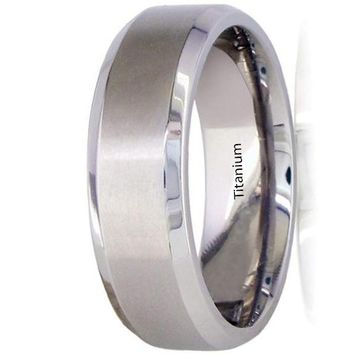 CERTIFIED 7mm Beveled Edge Center Brush Finished Titanium Wedding Band Comfort Fit