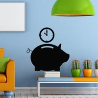 Wall Decal Vinyl Sticker Pig Saving Time Box Art Design Kids Nursery Room Modern Nice Picture Home Decor Hall Chu1303