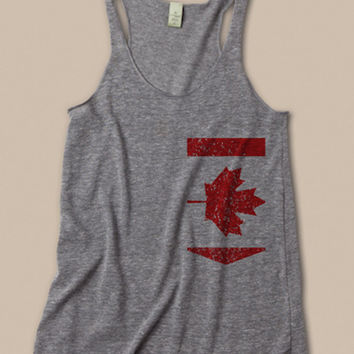 Canadian Pocket Womens Tri-Blend tank in gray Size L