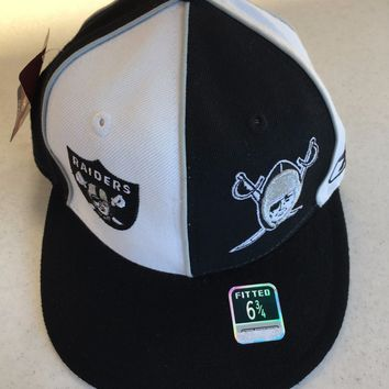 2ece2d96d RETRO REEBOK OAKLAND RAIDERS BLACK AND WHITE PANELS FLAT BRIM FITTED HAT