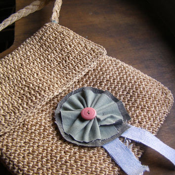Hemp Messenger Bag, Upcycled Spring Crochet Beige Shoulder Bag Flower Applique Shabby Rustic Women Girl Handbag Mori Girl Clothing Accessory
