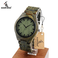 BOBO BIRD G19 Mens Luxury Brand Green Sandal Wood Watches Full Wooden Quartz Watch Handmade Wristwatches in Wood Box OEM relogio
