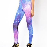 ASOS PETITE Exclusive Leggings In Galaxy Print at asos.com