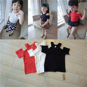 Nicoevaropa Baby Girls Basic T-Shirt Kids Off Shoulder Soft Cotton Top New Fashion Casual Children Clothes
