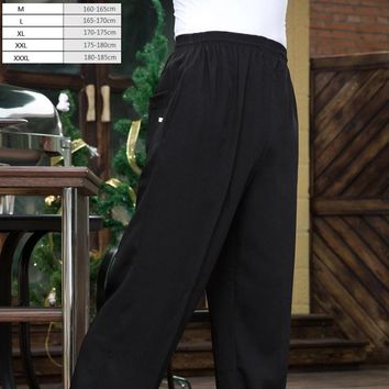 1pc The waiter chef work pants chief black slacks overalls master black trousers for men and women hotel kitchen pants by