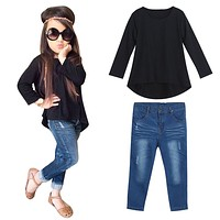 Toddler Girls T-shirt Top+Jeans Pants Set
