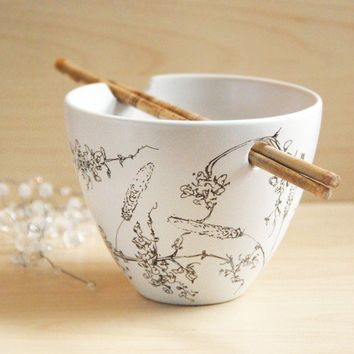 Hand Painted Noodle Bowl Wild Grass Botanical by yevgenia on Etsy