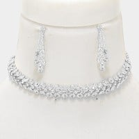 "13.50"" crystal 3 row bubble choker necklace 1.60"" earrings .50"" wide bridal prom"