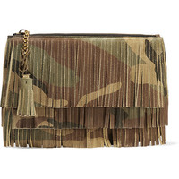 Saint Laurent - Monogramme fringed camouflage-print suede clutch