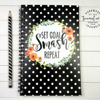 Writing journal, spiral notebook, bullet journal, black floral polka dots sketchbook, blank lined grid, motivational - Set goal smash repeat
