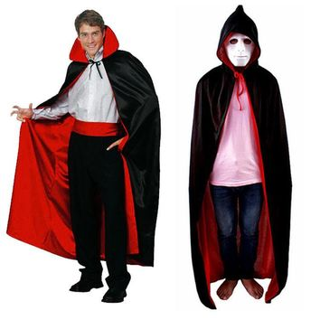 Halloween Decoration Costume Cloak Wizard Witch Cosplay Anime Clothes Hooded Fancy Cape Vampire Masquerade Double Wear