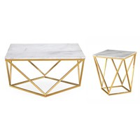 Leopold White/Goldtone Marble/Steel Tables (Set of 2) | Overstock.com Shopping - The Best Deals on Coffee, Sofa & End Tables