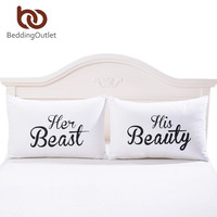 BeddingOutlet Decorative Pillowcase Beast and Beauty Bedding Valentine's Day Gifts for Him or Her Pillow Cover One Pair