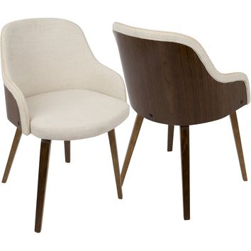 Bacci Mid-Century Modern Dining/ Accent Chair with Cream Fabric, Walnut