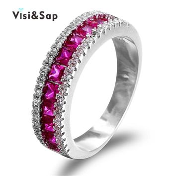 Visisap Dove Blood Stone Rings For Women Wedding bands cubic zirconia ring White Gold color vintage fashion Jewelry VSR212