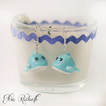 whale earrings - polymer clay