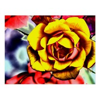 Colorful Artistic Yellow Rose Postcard