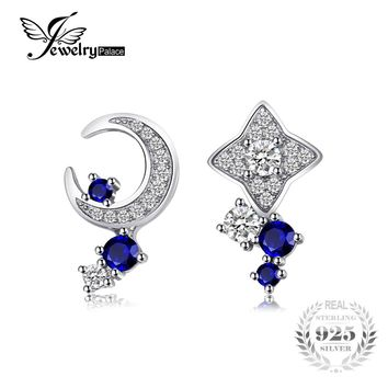 JewelryPalace Moon & Star 0.8 ct Created Blue Sapphire Earrings 925 Sterling Silver Fine Jewelry 2017 Trendy Earrings For Woman