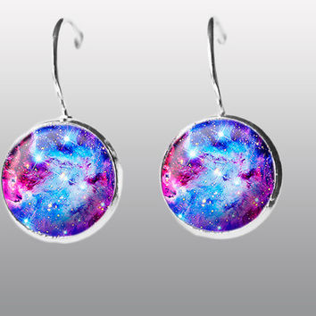 Blue Nebula Earrings Post dangle Earrings Space Earrings Solar System. Universe Earrings. Silver Moon Earrings  Gift for Girls.