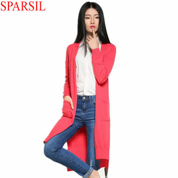 Sparsil Womens Cashmere Blend Sweater Full Sleeve Solid Color Hem Split Collect Waist Long Style Slim Cardigans With Pockets