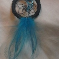 Black and Blue Dreamcatcher Brooch