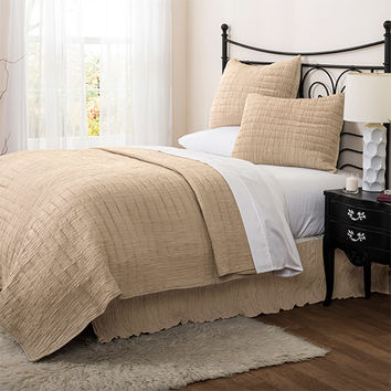 Lush Decor C24690P14-000 Crinkle Solid Taupe Two-Piece Twin Quilt Set