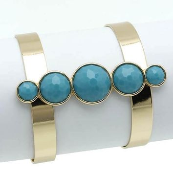 Turquoise Faceted Homaica Stone Layered Metal Cuff Bracelet