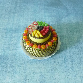 Fruit cake chololate Miniature cake Dollhouse food Dollhouse miniatures/ polymer clay miniatures