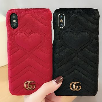GUCCI VELET COLORFUL Popular logo fluffy love iphone7 gucci leather iphone7plus phone shell iphoenX protector.