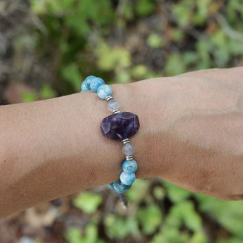 Apatite and Amethyst Adjustable Bracelet