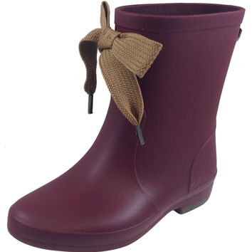 Igor Girl's Aitana Burgundy Rain Boots with Beige Bow