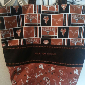 University of Texas Longhorn  Fabric Tote Bag or Purse UT