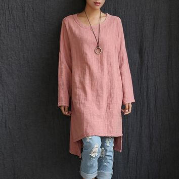 O-neck Long sleeve Cotton linen Women Long Blouse Shirt Plus size Loose Casual Shirt Solid White Red Pink Women Blouse Tops 5022