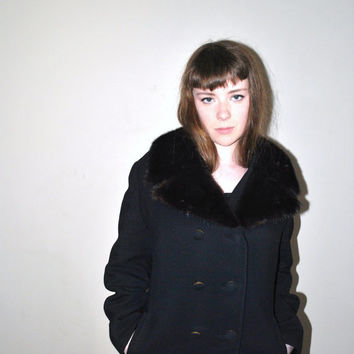 1960s vintage alpaca coat /  mink collar black long high fashion pea coat