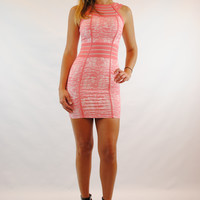 (amq) Mesh detail bodycon pink dress