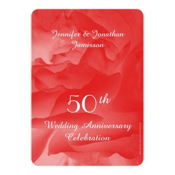 50th Wedding Anniversary Party Invitation, Rose Invitation