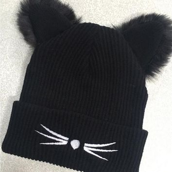 BONJEAN Women Thick Wool Knitted Beanie Hat Cat Ear Cap Winter 2 Layer Fleece Lined Black Hats Skullies Pompom Caps Bonnet Femme