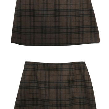 Flap Pocket Check A-Line Skirt