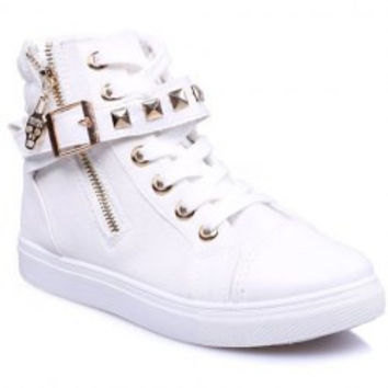 Stylish Zipper and Rivets Design Women's Canvas Shoes