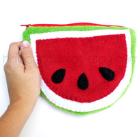 Back to School SALE - Watermelon Pouch - Cute Make Up Pouch , Kawaii Pencil Case , Made to Order
