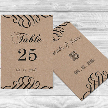 Kraft Paper Wedding Table Numbers Card Templates - 4x6 Rustic Swirls Printable Kraft Paper Editable PDF Template - DIY You Print