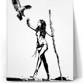 The Falconer - sexy stencil tribal girl artwork, black and white minimalist canvas art print