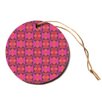 "Empire Ruhl ""A Quilt Pattern"" Pink Red Circle Holiday Ornament"