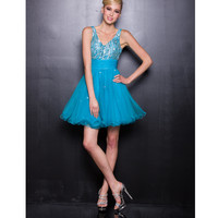 2013 Prom Dresses - Blue Chiffon and Beaded Short Prom Dress - Unique Vintage - Prom dresses, retro dresses, retro swimsuits.