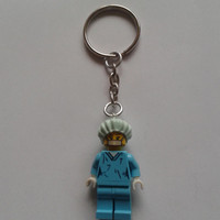 Surgeon keychain keyring  made with LEGO®  series 6 minifigure