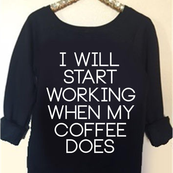 I Will Start Working When My Coffee Does - Ruffles with Love - Off the Shoulder Sweatshirt - Womens Clothing - RWL