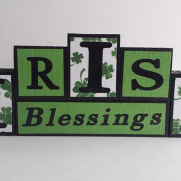 Irish Blessings Block Sign - Wood And Vinyl - Small block set