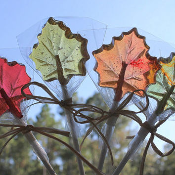 12 FALL LEAVES Hard Candy Barley Sugar Lollipops Suckers Party Favors Gift Maple Leaves Wedding Favors