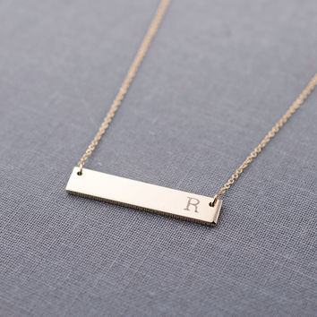 Solid 14K Gold Large Initial Bar Necklace